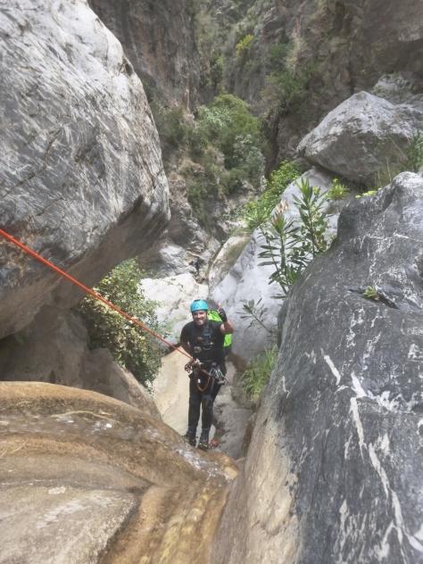 David durante el descenso.
