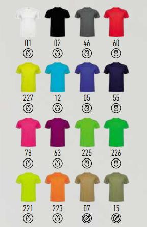 Gama de Colores Camisetas Hombres y Niños.